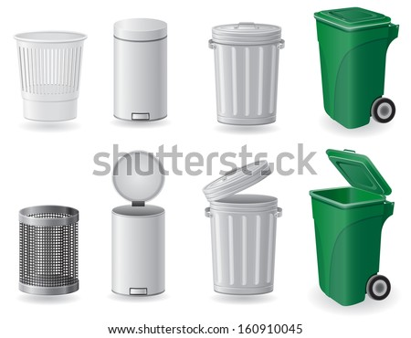 trash can and dustbin set icons vector illustration isolated on white background - stock vector