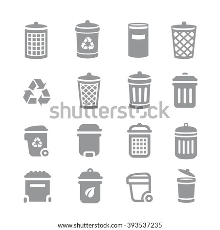 Trash can and recycle bin icons. Garbage and rubbish, clean and waste,  - stock vector
