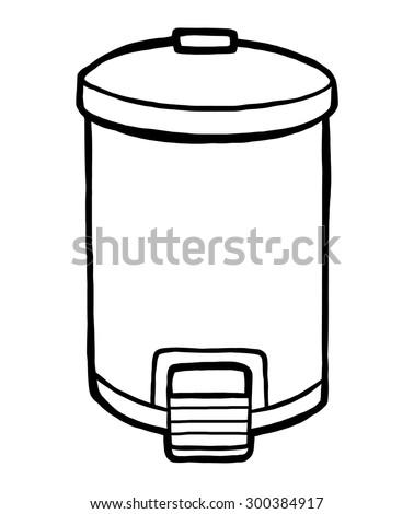 Trash Can Cartoon Vector Illustration Black Stock Vector
