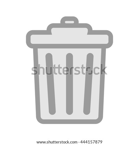 Trash can icon, dumpster symbol, garbage pictogram