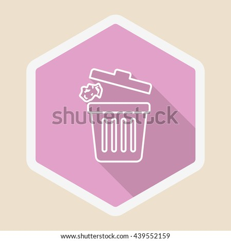 Trash can icon , Vector flat long shadow design.