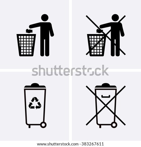 Trash Can Icons. Waste Recycling. Do Not Litter. - stock vector