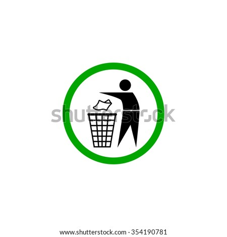 Trash can. Waste recycling. Municipal waste. Place for trash - stock vector