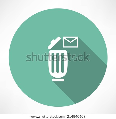 trash can with a message icon - stock vector