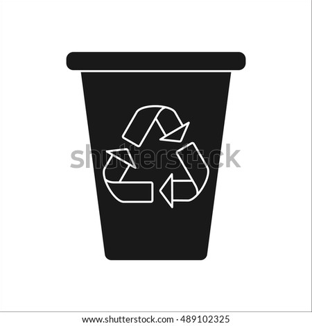 Trash can with Recycle symbol sign silhouette symbol icon on background