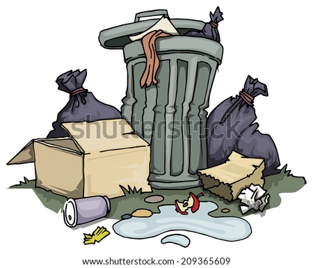 Trash can, with rubbish and old boxes around, vector illustration - stock vector