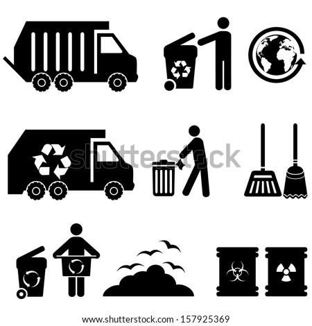 Trash, garbage and waste icon set - stock vector