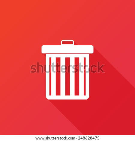 Trash icon. Long shadow - stock vector