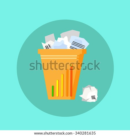 Trash Recycle Bin Garbage Flat Vector Illustration - stock vector