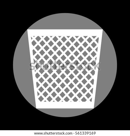 Trash sign illustration. White icon in gray circle at black background. Circumscribed circle. Circumcircle.