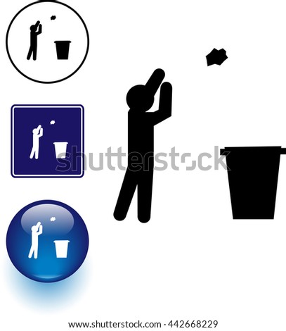 trash throwing symbol sign and button - stock vector