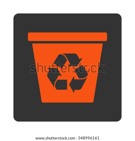 Trashcan vector icon. Style is flat rounded square button, orange and gray colors, white background.