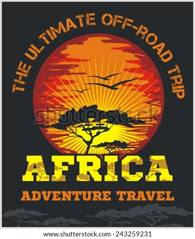 Travel Africa - extreme off-road vector emblem. - stock vector
