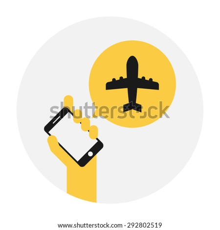 travel agency, reservation, booking, hand holding smartphone vector icon  - stock vector