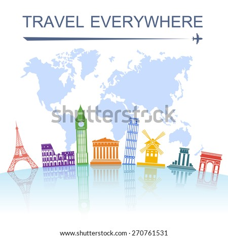 Travel agency spectacular worldwide sightseeing landmark tours concept poster with italian tower of pisa abstract vector illustration - stock vector