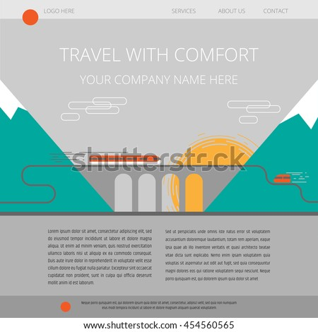 Travel agency website home page template. Colorful flat style background illustration - express train riding on viaduct between the mountains.