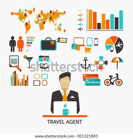 Travel agent. Infographic - stock vector