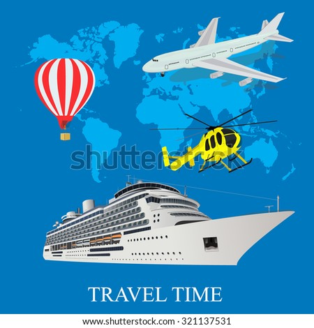 travel, air balloon, airplane, cruise liner, helicopter,  vector illustration in flat design,  app, banner - stock vector