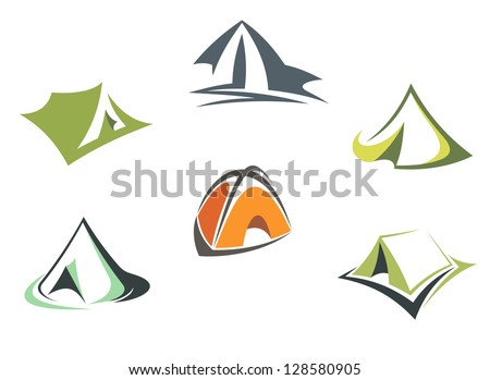 Travel and adventure camp tents set isolated on white background or logo template. Jpeg version also available in gallery - stock vector