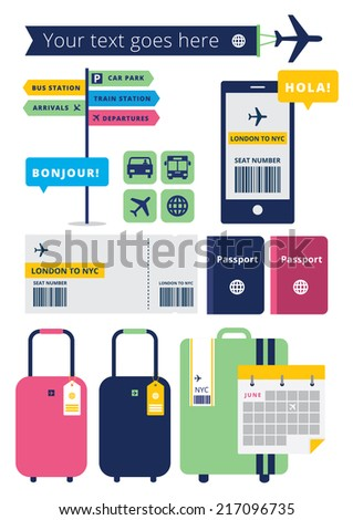 Travel and Airport Icons - stock vector