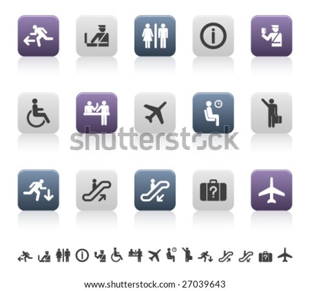 travel and airport pictograms (1 of 3) - stock vector