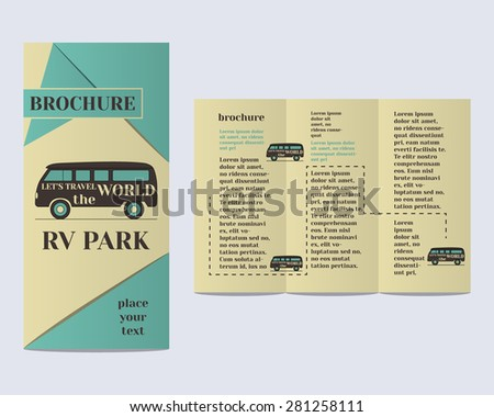 Travel And Camping Brochure Flyer Design Layout Template Rv Park Campground With Infographic Elements