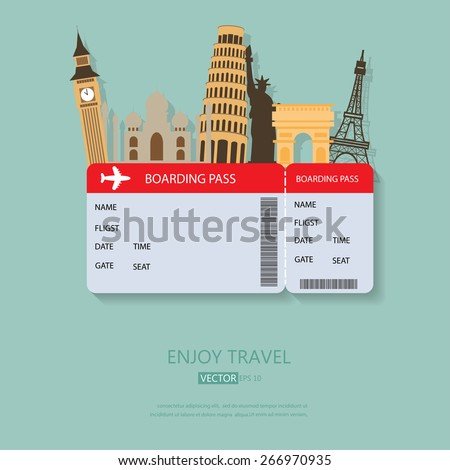 travel and Flights background for tourist,  holidays and vacation. items are include air ticket and world heritage vector, text can be added - stock vector