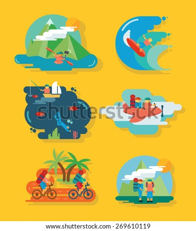 Travel and Fun Icon set with tourism and vacation vector illustration elements - stock vector