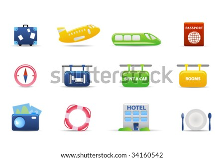 Travel and hotel icons - stock vector