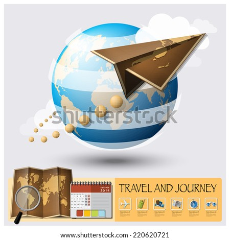 Travel And Journey World Map Infographic Background Design Template - stock vector