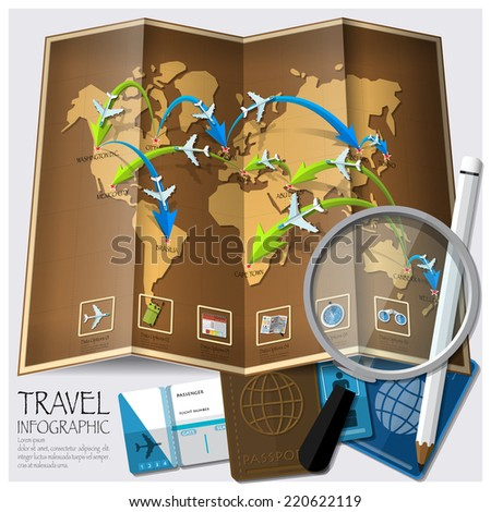 Travel And Journey World Map Infographic Design Template - stock vector