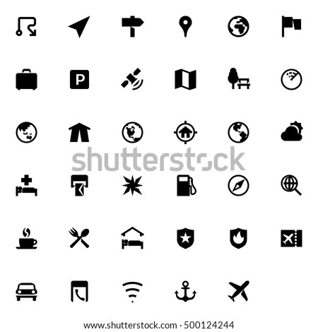 Travel Map Collection Different Items Location Stock Vector