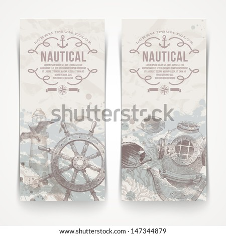 Travel and nautical - Vintage hand drawn vector banners - stock vector