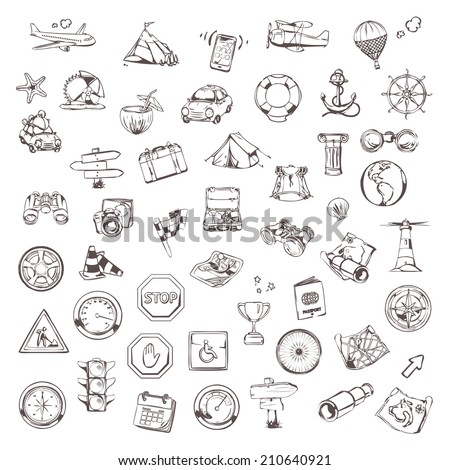 Travel and navigation, sketches of icons vector set - stock vector