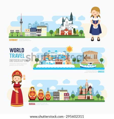 Travel and outdoor Europe Landmark Template Design Infographic. Concept Vector Illustration  - stock vector
