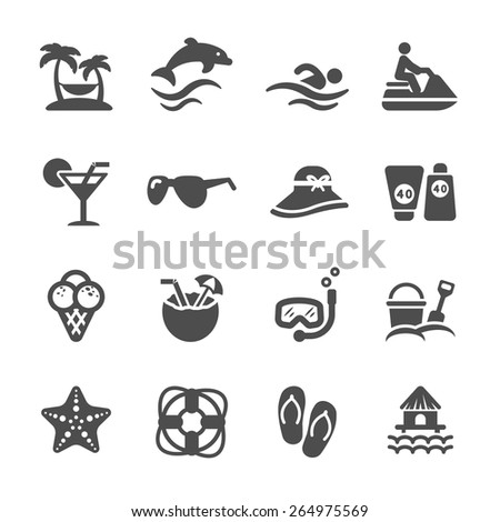travel and summer beach icon set, vector eps10. - stock vector