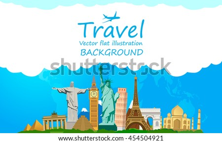 Travel and tourism around the world, landmark. Vector illustration. Flat modern design. - stock vector