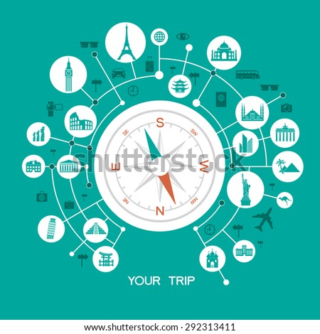 Travel and tourism background and infographic . Travel and Famous Landmarks. Travel concept with stylish icons.  - stock vector