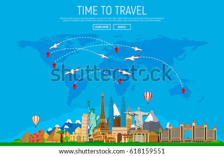 Travel tourism background big set famous stock vector 618159551 travel and tourism background big set of famous landmarks and world map web gumiabroncs Choice Image
