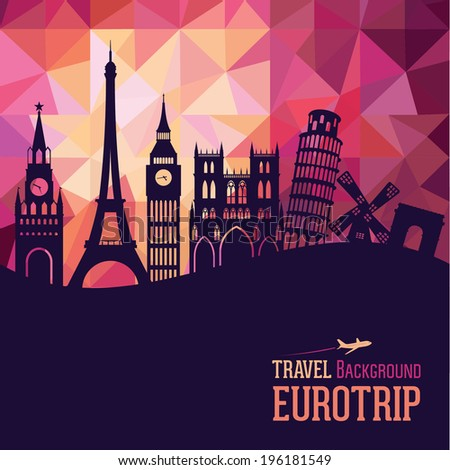 Travel and tourism background. Europe - stock vector