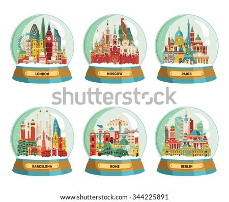 Travel and tourism background. Famous European cities London, Moscow, Paris, Barcelona, Rome, Berlin. Winter souvenir. Vector illustration - stock vector