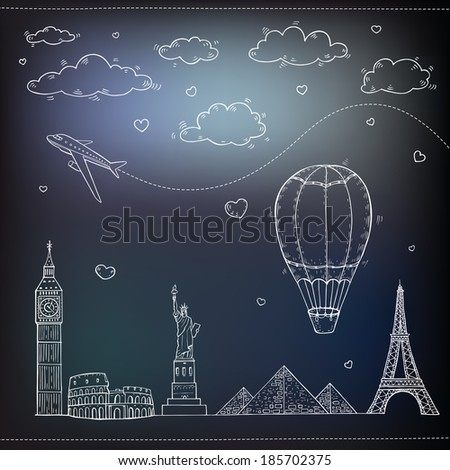Travel and tourism background. Vector hand drawn illustration.  - stock vector