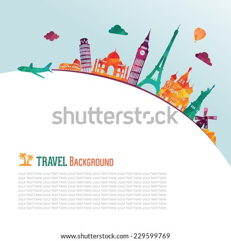 Travel and tourism background.Vector illustration - stock vector