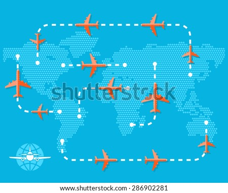 Travel and Tourism concept. Airplanes over blue map with routes over blue background. Vector Illustration. Flat Design. - stock vector