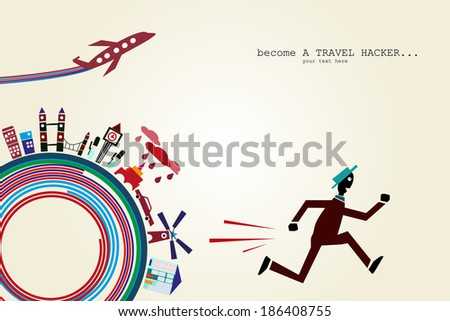 Travel and tourism concept background - stock vector