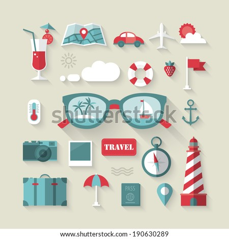 Travel and tourism flat icons set. Vector illustration - stock vector