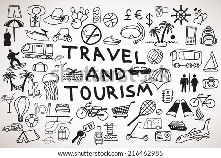 Travel and tourism hand drawn  icons and doodles - stock vector