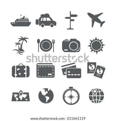 travel and tourism icon set, vector eps10.