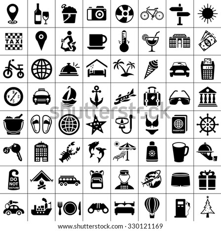 Travel and Tourism Icons - stock vector