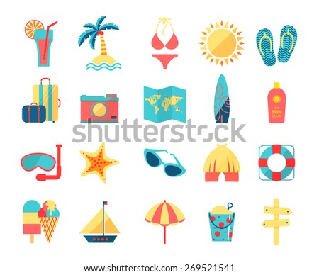 Travel and tourism icons set, vector illustration - stock vector